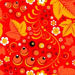 Khokhloma seamless pattern in russian folk style