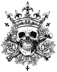 Graphic human skull with crossed bones and crown