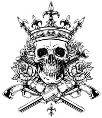 Graphic skull with crossed bones and revolvers