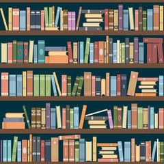 Bookshelves full of books both in the library