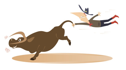 Keuken foto achterwand Stierenvechten Cartoon rodeo illustration with cowboy and bull. Man or cowboy catches a running bull by tail