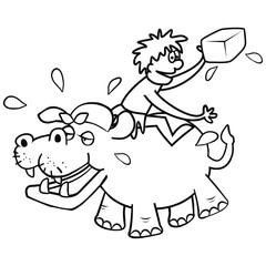Hippo and veterinary, funny illustration, coloring page