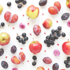 Fototapete - Vertical  composition of fruits on a white background. Pattern made from fresh fruits. Top view, flat design. Collage of plum, grapes, flowers.