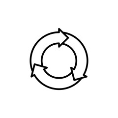 thin line round recycle icon