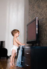 One Year Old Boy Watching TV