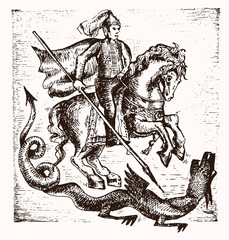 Hand drawn Saint Georgi. Vector illustration. warrior knight on horse slaying the dragon with a spear