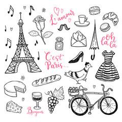 Doodle vector set with hand drawn Paris, France symbols.