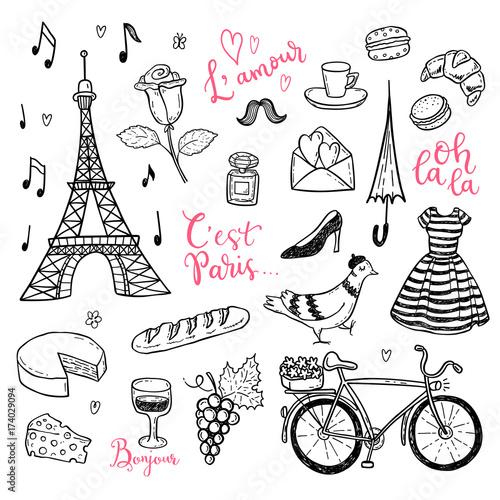 Doodle Vector Set With Hand Drawn Paris France Symbols Stock