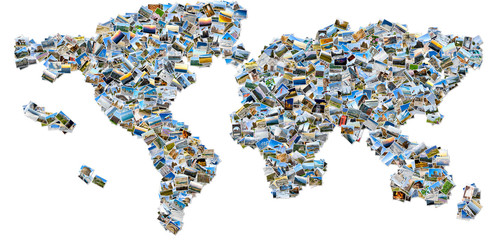 Collage of travel images - world map