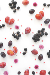 Vertical  composition of fruits on a white background. Pattern made from fresh fruits. Top view, flat design. Collage of plum, grapes, flowers.