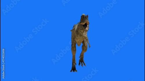 animate a running dinosaur 3d render on a blue background