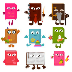 Vector illustration set of funny book characters isolated on white background. Childish bright and colorful books with smiling faces, arms and legs, school, education concept.