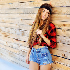 Stylish hipster girl outdoor portrait