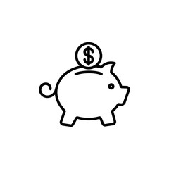 money box pig with coin line icon