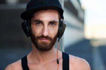 urban headphones man portrait