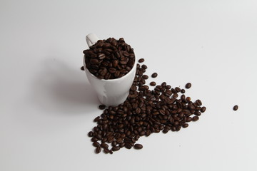 Coffee Beans fill White Cup with light shadow over white background. Copy Space Concept