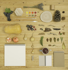 Overhead shot of a desk with autumn treasures