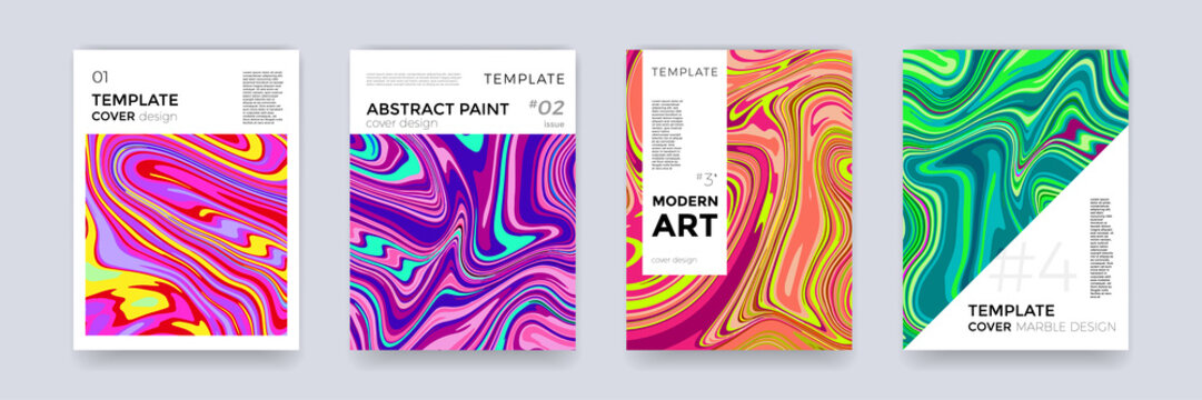 Brochure template set design marble vector abstract color splash texture background