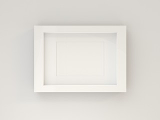 Blank picture frame in living room. 3D render