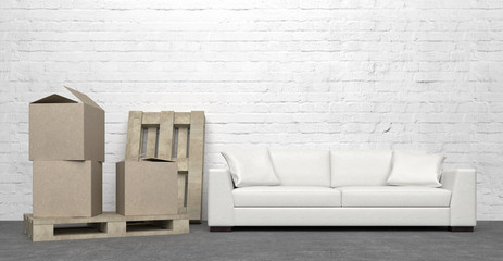 lounge with sofa and cardboxes