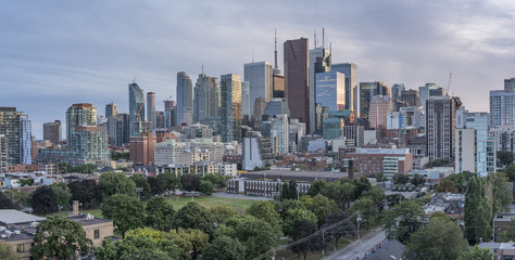 Skyscrapers of banks, high - rise buildings in Financial District of Toronto.Panoramic