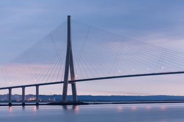 Sunrise near Pont de Normandie, Seine bridge in France