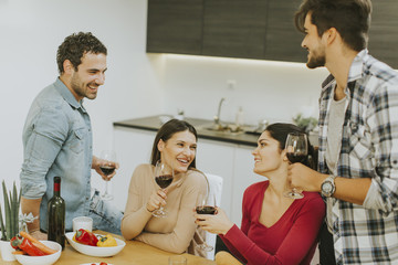 Group of young people drinking wine in the room