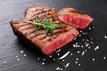 Door stickers Meat Grilled beef steak with rosemary, salt and pepper