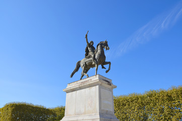 Louis XIV statue on a horse in the Peyrou esplanade in Montpellier city