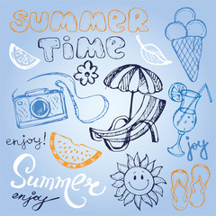 Hand drawn doodle vector summer banner. Summer template banner. Hello, summer! Vector illustration.