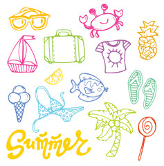 Hand drawn doodle vector summer banner. Summer template banner. Hello, summer! Vector illustration.