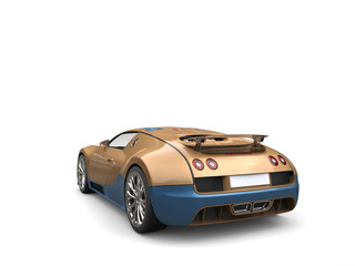 Awesome luxury golden modern super sports car - back view