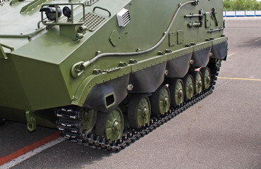 Multipurpose armoured high-speed tracked chassis is as a platform for special purpose military vehicles