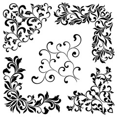 A set of angular ornaments. Ideal for stencil. Decorative vintage style. Ornate pattern of swirls and leaves isolated on white background