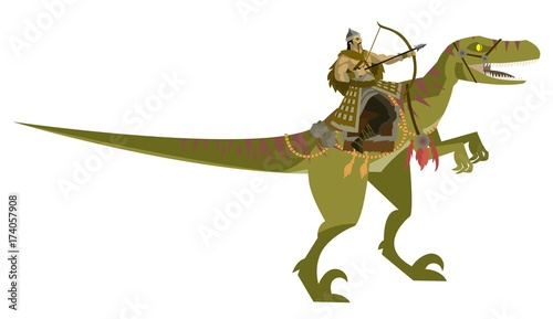 mongolian warrior riding a dinosaur