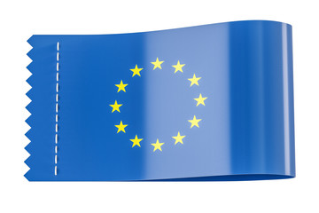 Clothing tag, label with flag of European Union. 3D rendering