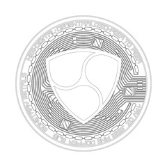 Crypto currency black coin with black lackered nem symbol on obverse isolated on white background. Vector illustration. Use for logos, print products, page and web decor or other design.