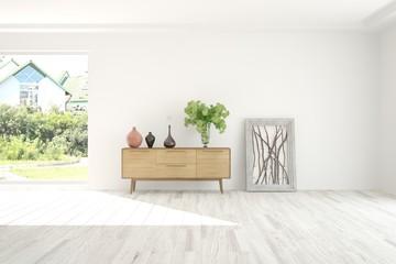 White empty room with shelf and summer landscape in window. Scandinavian interior design. 3D illustration