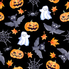 Halloween seamless pattern - pumpkin, bat, ghost, spider. Cute watercolor