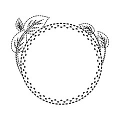 round frame with  leaves  sticker vector illustration