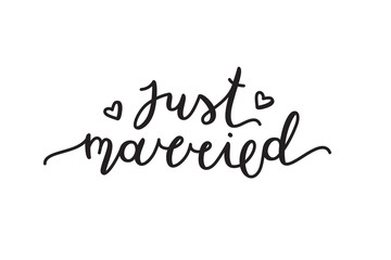 just married lettering