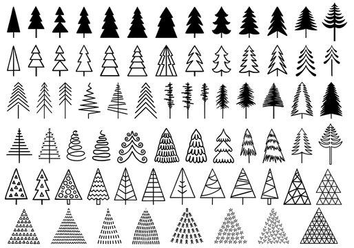 72 Christmas trees, vector set