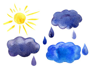 Watercolor icons set sun, clouds, raindrops, isolated on white background
