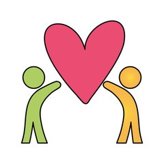 pictogram people   with heart  vector illustration