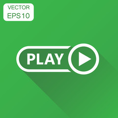 Play icon. Business concept play video pictogram. Vector illustration on green background with long shadow.