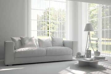 Inspiration of white room with sofa. Scandinavian interior design. 3D illustration