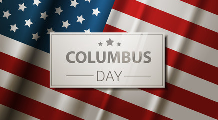 Happy Columbus Day National Usa Holiday Greeting Card With American Flag Flat Vector Illustration