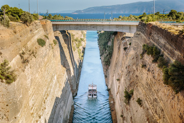 Boat Passes Through the Corinth Canal in Greece