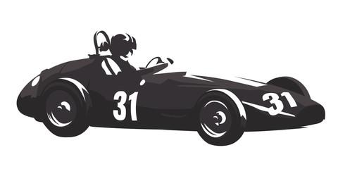 Historic racing car, retro formula, abstract vector silhouette