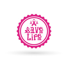 Pink Ribbon Breast Cancer Awareness Icon Isolated Flat Vector Illustration